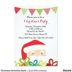 Christmas Invitation Santa Claus Gifts Impress your guests with this lovely invitation card. Personalize it with your details for any event. Ideal for Christmas Party.
