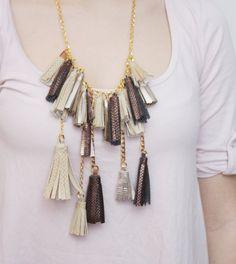 TASSEL BURST/ Leather tribal necklace by DDSLLGirlsStore on Etsy, $43.00