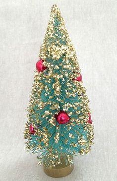 "Vintage 6"" TURQUOISE AQUA w. RED MERCURY GLASS BEADS Bottle Brush Christmas Tree…"