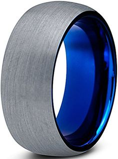 Tungsten Wedding Band Ring 8mm for Men Women Comfort Fit Blue Round Domed Brushed Lifetime Guarantee Size 4 Charming Jewelers http://www.amazon.com/dp/B016QSISYY/ref=cm_sw_r_pi_dp_Rw8qwb0Q0126Y