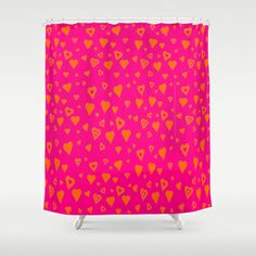 Hot Pink with lots of orange hearts Shower Curtain by Celeste Sheffey of Khoncepts - $68.00