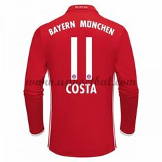 Bayern Munich 2016-17 Costa 11 Lange Mouw Thuis Tenue Goedkope Voetbalshirts Clubs