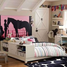 Creative Bed Storage Design With Soft Bedding Set For Teen Girl Bedroom Ideas And Swivel Chair Facing Lamp Shade Under Shelving Pretty Teen Girl Bedroom Ideas Designed with Chic Palettes and Accessory Bedroom Design Teenage Girl Bedroom Designs, Bedroom Decor For Teen Girls, Teenage Girl Bedrooms, Girl Rooms, Horse Themed Bedrooms, Bedroom Themes, Bedroom Ideas, Bedroom Inspiration, My New Room