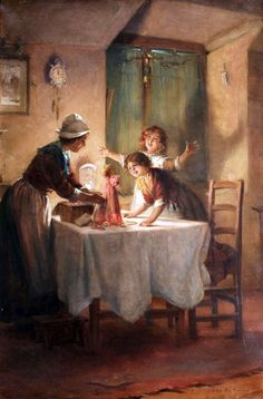 """""""Dressing Up Dolly"""" or """"Christmas Doll"""" -- by George Sheridan Knowles (British, 1863-1931)"""