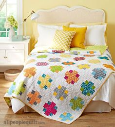 "Easy Addition Quilt - BHG Quilts and More Spring 2016 Magazine - RJR Pie Making Day fabrics: 24 FQs, 5 yes white, .5 yd Pie Plate (Lemon) binding. 78.5"" x 104.5"" finished size"