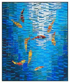 Beautiful colors and movement. Koi no. 22: Tim Harding: Fiber Wall Art - Artful Home