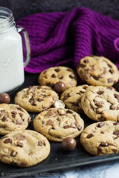 Malted Chocolate Chip Cookies | marshasbakingaddiction.com @marshasbakeblog