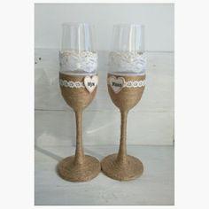Свадебные бокалы в стиле рустик. Wedding glasses rustic.