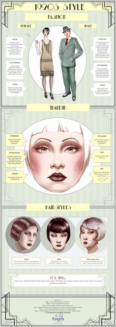 Vintage Makeup A curated post showing halloween costume infographics. - Wracking your brain for Halloween costume ideas? Maybe one of these Halloween infographics will inspire you. Vintage Outfits, Retro Outfits, Vintage Fashion, Trendy Fashion, 1920s Fashion Gatsby, Womens Fashion, Roaring 20s Fashion, 1920s Fashion Dresses, 1920s Fashion Women