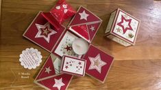 """Explosion box minutes of Christmas"""" opened Pop Up Cards, Xmas Cards, Greeting Cards, Christmas 2019, Christmas Presents, Christmas Crafts, 15min Weihnachten, Exploding Boxes, Explosion Box"""