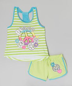 Another great find on #zulily! Green Stripe 'Peace' Tank & Shorts - Toddler & Girls #zulilyfinds