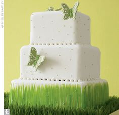 On a bed of real Easter grass, this cake is a great Spring addition to any table! I'd change the cake to a soft yellow or pink.