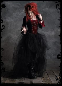 ★ Fiery Red ★ Camellia Bustle Gown in Velvet and Tulle - Custom Elegant Gothic Clothing and Dark Romantic Couture