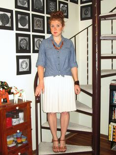 chambray shirt, wooden bead necklace, off white pleated skirt, big cuff, brown leather sandals