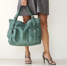leather messenger tote - Forest Green Large Shoulder Bag - Can Be Worn Across the Chest $235