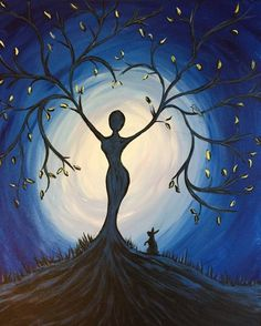 Paint Night Ideas Easy Lovely Paint Nite Blue Tree Goddess Use orlandovip at Checkout Easy Canvas Painting, Acrylic Painting For Beginners, Simple Acrylic Paintings, Beginner Painting, Canvas Art, Knife Painting, Acrylic Art, Diy Tree Painting, Sillouette Painting