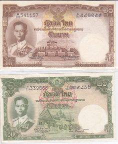 B43 ธนบัตรชนิดราคา 10 บาท และ 20 บาท ร.9 ลายเซ็นต์ สมหมาย-พิสุทธิ์ และ ส.-ป๋วย สภาพใหม่ 90 เปอร์เซ็นต์ มี 3 ชุด เลขไม่เรียง ขายชุดละ 1000 บาท