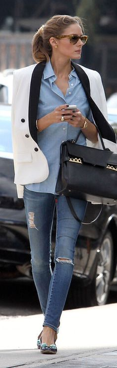 Olivia Palermo Street Stylin' in her AG 'Legging Ankle' Jeans
