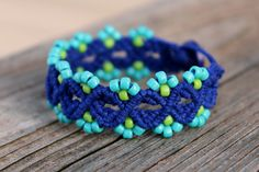 This bracelet was made with 4 strands of 1.5mm all naturally dyed blue colored hemp cording woven together in a double half hitch knotted macrame