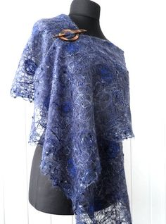 Handmade shawl crazy wool technique for women от crazywoolLT, $75.00