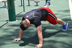 Push Up with Foot Elevated. Step Two: Push your body up off the ground with your foot still elevated.