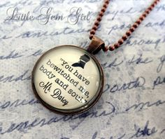 Jane Austen Jewelry Pride and Prejudice Mr Darcy Book Quote Necklace - Book Jewelry or Keychain Glass Antique Copper Pendant $17