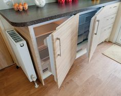 [Pic] Integrated side-by-side under counter fridge and freezer. Great for guest house / elder suite / tiny living. Under Counter Fridge, Integrated Fridge, Homestead House, Kitchen Design, Kitchen Ideas, Creative Home, Apartment Living, Kitchen Storage, Kitchen Remodel