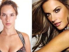 Famous Victoria Secret model with and without hair and makeup. You'd look like a supermodel too with a whole make-up & hair team, lighting director, top end photographer, and photoshop artist. Models Without Makeup, Models Makeup, Victorias Secret Models, Alessandra Ambrosio, Top Models, Modelos Da Victoria's Secret, Power Of Makeup, Louis Vuitton, Brazil