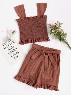 Shop Rust Frill Trim Shirred Tank Top With Shorts online. SheIn offers Rust Frill Trim Shirred Tank Top With Shorts & more to fit your fashionable needs. Girls Fashion Clothes, Teen Fashion Outfits, Cute Fashion, Kids Outfits, Girl Fashion, Clothes For Women, Cute Summer Outfits, Cute Casual Outfits, Pretty Outfits