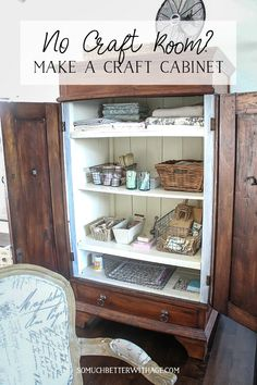 No Craft Room? Make a Craft Cabinet | So Much Better with Age | Lacking a craft room or space? In this blog post, I'm sharing how you can transform an armoire into an organized craft supplies space, perfect for all your DIY studio and craft projects. #craftorganization #crafting #craftroom