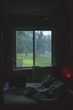 Lazy day in bed at rainy weather