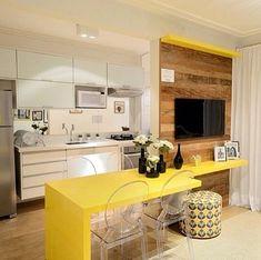 cozinha integrada mesa de jantar e painel compactos