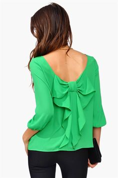 Waldorf Bow Blouse - Kelly Green