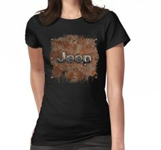 Rustic Jeep with chrome typograph Womens Fitted T-Shirts #WomensFitted #TShirts #clothing #toyota #retro #rustic #abstract #volkswagen #vehicle #car #autocar #suv #offroad #rangerover #landrover #4x4 #offroad #jeep