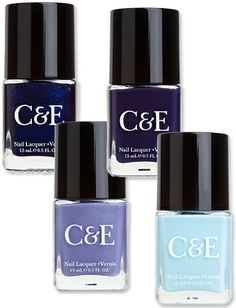 Crabtree & Evelyn Release Nail Polishes:   Blueberry, Wisteria, Eggplant, and Sky