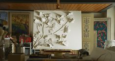 Bas-relief gyps Scagliola and rabbit glue - Leaves blowing in the wind Wall Sculptures, Art Decor, Home Decor, Interior Design, Artist, Rabbit, Leaves, Painting, Homemade Home Decor