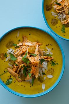 Mulligatawny - Indian Soup with Rice, Chicken, Cilantro, and Raisins