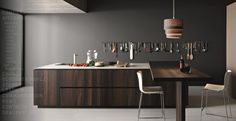 Kitchen : Clean and Neat Modern Kitchens From Cesar - Modern Traditional Kitchen Interior Design Idea with Coffee Oak Island and Breakfast Bar and White Quartz Countertop also Wall Mounted Kitchen Appliance Rack and Dark Gray Wall Paint Color medium version