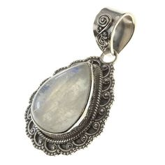 """925 Sterling Silver RAINBOW MOONSTONE Pendant, 1 2/4"""". BeadsTreasury Product Description BeadsTreasury provides our customer with high quality handcrafted jewerly in affordable price. Most of our jewelry are handcrafted, thus every pieces of jewelry is UNIQUE. This 18MM RAINBOW MOONSTONE gemstone is crafted in 925 Sterling Silver Pendant. Its weight is 7.60g. What is 925 Sterling Silver? 925 Sterling Silver jewelry is composed with 92.5 percent silver and 7.5 percent copper. It is found…"""