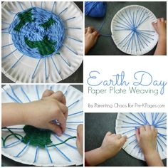 Earth Day Paper Plate Weaving Craft for Pre-K and Kindergarten Kids.  A fun craft for Earth Day that will also help your kids develop fine motor skills, hand-eye coordination and more! - Pre-K Pages