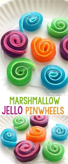 Jello Pinwheels Marshmallow Jello Pinwheels Recipe and Tutorial -- Raining Hot CouponsMarshmallow Jello Pinwheels Recipe and Tutorial -- Raining Hot Coupons Jello Recipes, Candy Recipes, Dessert Recipes, Jello Pinwheels, Jello Deserts, Jello Jigglers, Homemade Candies, How Sweet Eats, Kids Meals