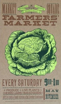 FARMERS MARKET CABBAGE or Lettuce Fresh Produce Hand Printed Letterpress Poster