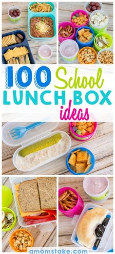 Mix and match these 100 school lunch box ideas to have a different combination of lunch this school year! So many yummy combinations you can make with healthy options and sandwich free lunches, too!