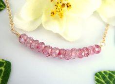 Mystic pink tourmaline quartz gold bar necklace by KBlossoms, $36.00