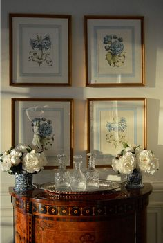 french matting on botanical prints found at the enchanted home shop