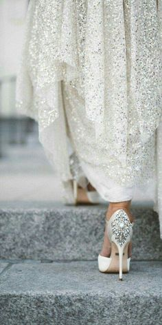 This Sparkly Dress Is A Perfect Match For These Badgley Mischka Kiara Embellished Peep Toe Pump Wedding Shoes
