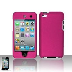 Premium Rubberized Snap-on Hard Crystal Front and Rear Case Cover for Apple iPod Touch 4G, 4th Generation, 4th Gen - hot pink compatible with 8GB / 32GB / 64GB - Case designed to fit the new iPod Touch 4g Product Features  Protect your iPod with styl
