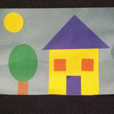 "Shape house - preschool craft for learning shapes for ""me"" week"