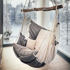 The Best 15 Awesome Hanging Chair Design Ideas For More Comfortable Sitting Relax with a hanging chair at home, of course, fun and soothing. Not only that, but the hanging chair also makes your home decoration more beautiful. Chaise Diy, Diy Hammock, Garden Hammock, Indoor Hammock Chair, Outdoor Hammock, Hammock Swing, Hammock Ideas, Hammocks, Double Hammock