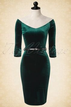 Vintage Chic - 50s Lena Velvet Pencil Dress in Green